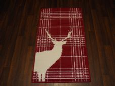 Modern Approx 4x2 60cm x 110cm Novelty range new checked stag Red/cream rug